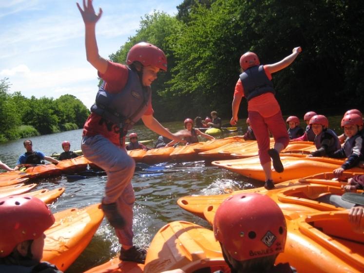 Kayak games at an outdoor venue