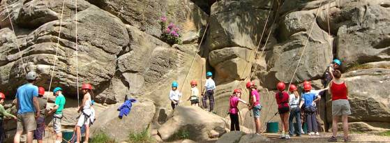 school group rock climbing