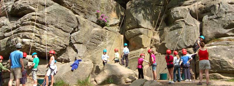 school group rock climbing