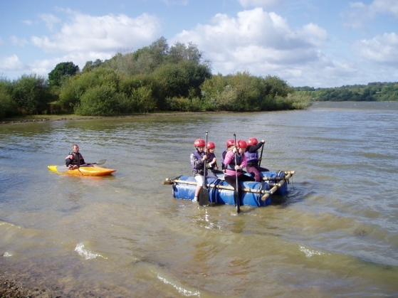 school raft building at outdoor centre