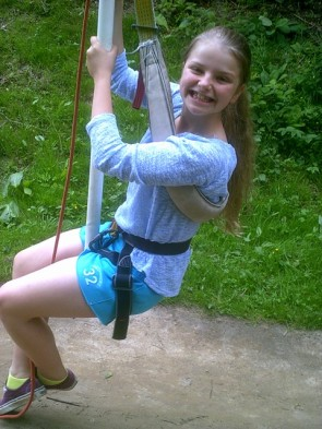 Mini zip wire at outdoor center