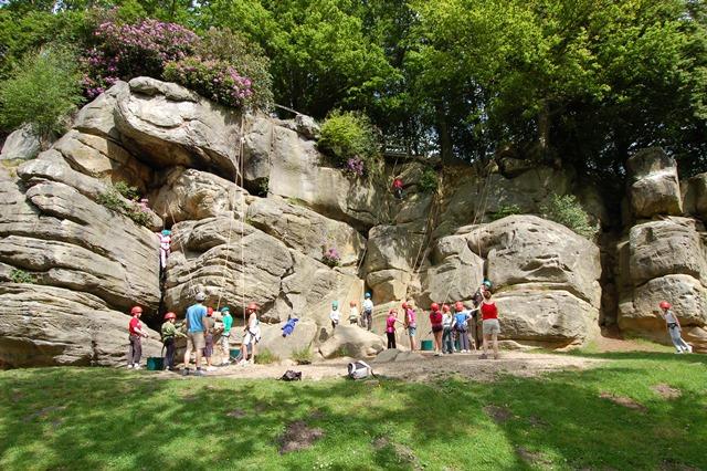 Sunny day outdoor rock climbing