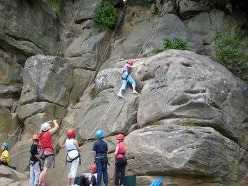 Rock climbing on trip