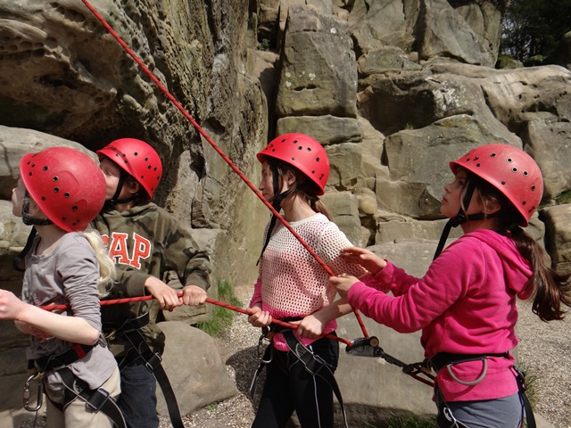 Group belaying each other